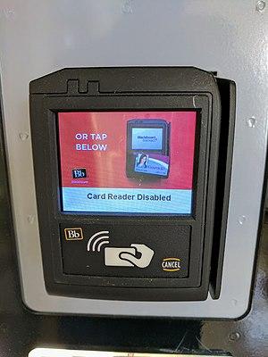 Blackboard Inc. - A Blackboard Transact card payment device affixed to a university vending machine.