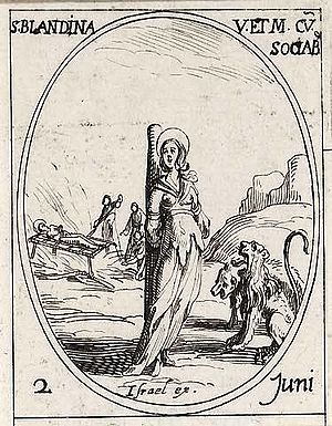 Saint Blandine's martyrdom at Lyons, drawn by ...