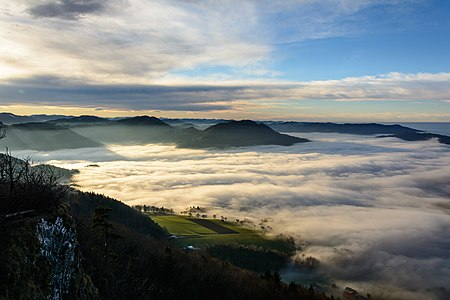 Fog over Erlauf river, seen from Blassenstein mountain