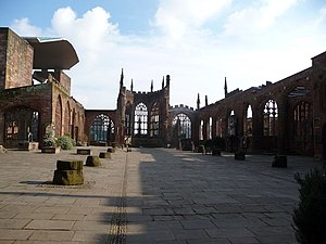 English: Blitz ravaged Coventry Cathedral A po...