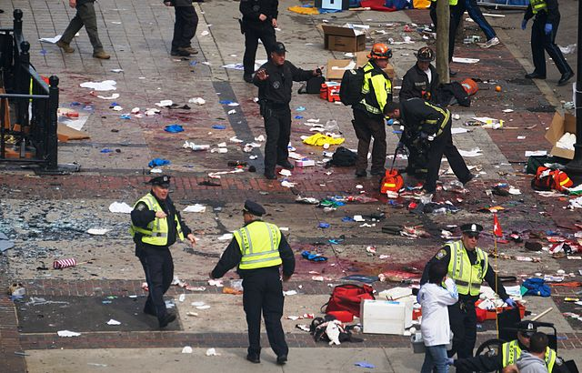 scene after explosions, Boston Marathon, 2013