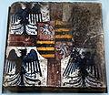 Bottega di antonio fedeli, mattonelle dallo studiolo di isabella d'este, pesaro 1493-94, 02 stemma gonzaga.JPG