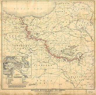 United Armenia - The Armenian-Turkish border by the Treaty of Sèvres