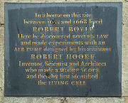 Plaque at the site of Boyle and Hooke's experiments in Oxford. See also The Boyle-Hooke plaque.