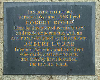 Robert Boyle - Plaque at the site of Boyle and Hooke's experiments in Oxford