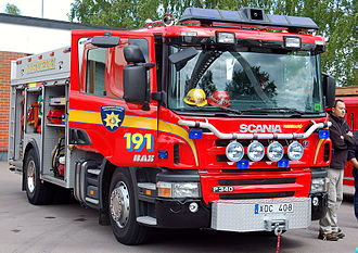 Scania PRT-range - Scania P 340 LB4x2HHA fire engine in Hammarö, Sweden.