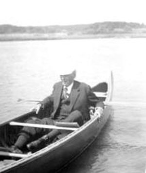 Louis Brandeis - Brandeis in his canoe. Circa 1916.