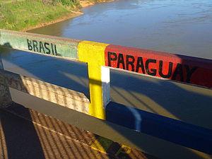 Brazil–Paraguay relations - Border of Brazil and Paraguay, near Ciudad Del Este.