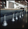 Brass counter and barstools at Café Kiasma, 2001.jpg