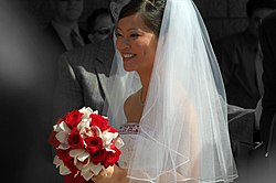 A Bride Wearing Typical Wedding Veil