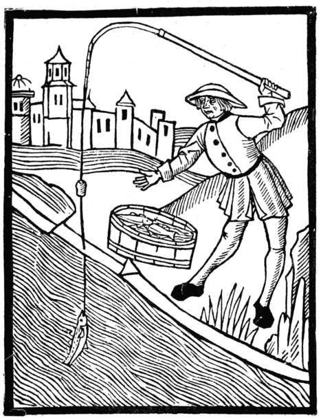 'FYSHYNGE WYTH AN ANGLE' (From 'The Book of St. Albans,' printed by Wynkyn de Worde in 1496)