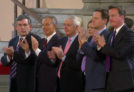 Cameron with his predecessors Gordon Brown, Tony Blair and John Major, and deputy Nick Clegg, during Barack Obama's address to Parliament, 10 June 2011 British PMs 2011.png