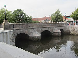 Vejle River - Bridge over Vejle River in downtown Vejle