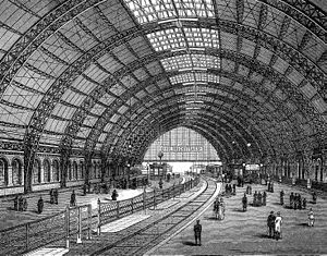 Berlin Friedrichstraße station - The train shed of the first station;  engraving after the original architectural drawing published in 1885