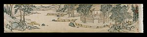 Qian Gu - Qian Gu, Landscape Handscroll, ca. 1556, ink on paper, 27.7 × 872 cm. Collection of Brooklyn Museum