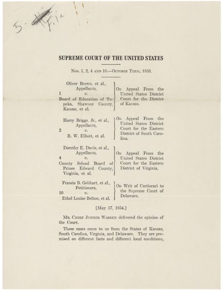 Brown v. Board of Education, when segregation was declared a violation of the 14th Amendment