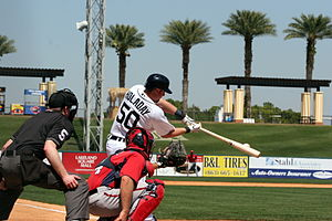 Bryan Holaday - Holaday batting during spring training in 2013