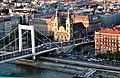 Budapest, view from the Gellért Hill to the Elisabeth bridge and to the Inner City Parish Church.jpg