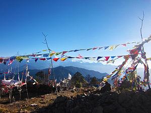 Pathibhara Devi Temple - Buddhist prayer flags fluttering inside Pathibhara Devi Temple premises