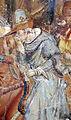 Buffalmacco, trionfo della morte, incontro dei tre vivi coi tre morti 09 cavaliere.JPG