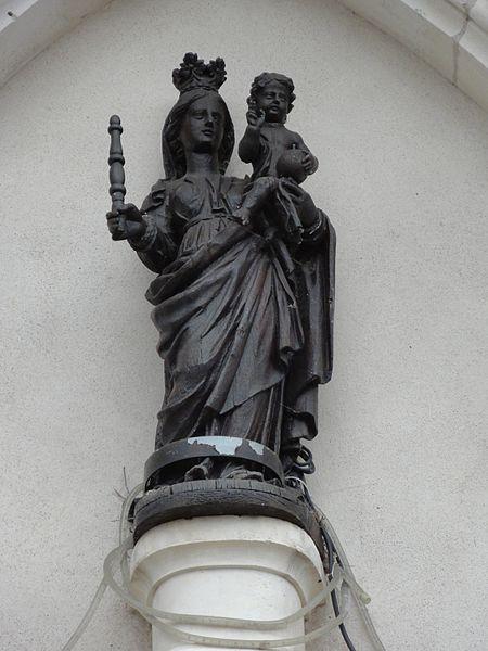 Buissoncourt (M-et-M) église, statue Vierge et Enfant sur façade