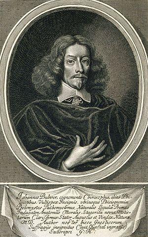 John Bulwer - Engraving of John Bulwer by William Faithorne. Made around 1653 for the book Anthropometamorphosis
