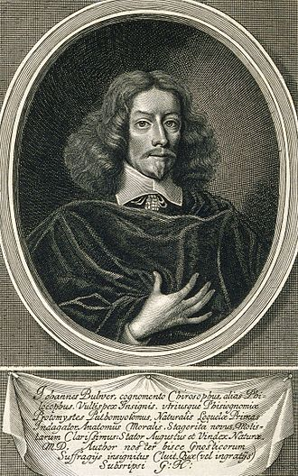 John Bulwer - Engraving of John Bulwer by William Faithorne. Made around 1653 for the book Anthropometamorphosis