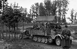 Sd.Kfz. 11 - A Sd.Kfz. 11/5 in Russia towing a 21 cm Nebelwerfer 42