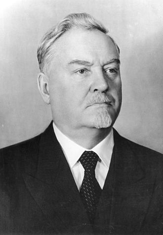 Central Committee elected by the 17th Congress of the All-Union Communist Party (Bolsheviks) - a photograph of Nikolai Bulganin, taken in 1955