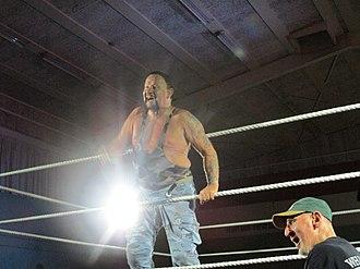 Luke Williams (wrestler) - Bushwhacker Luke, appearing at IPW's Kiwi As Mate show, with Bushwhacker Butch below