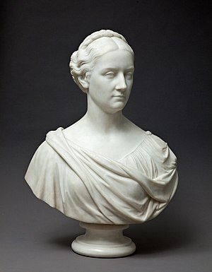 Bytown Museum - A marble bust of Lady Macdonald by Marshall Wood (1874) was exhibited as part of the Hidden Treasures from the Bytown Museum exhibition in 2011; Photo by Justin Wonnacott.