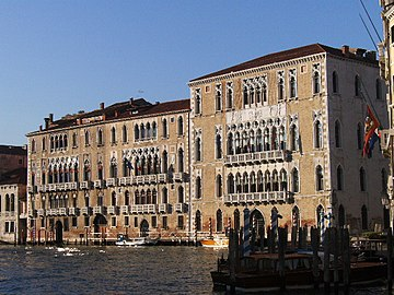 Palazzo Giustinian and Ca' Foscari on the right, built in late Venetian  Gothic style.