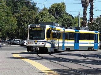 Sacramento Regional Transit District - Image: CAF LRV at Archives Plaza Station