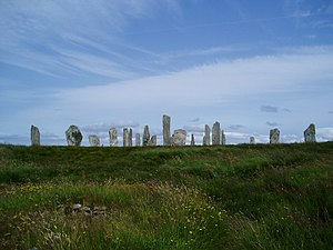 Callanish Stones - A distant view of the circle, stone rows and part of the northern avenue