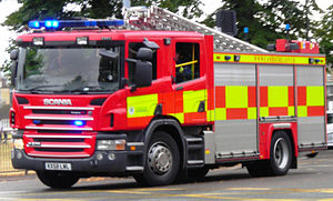 English: A fire engine of the Cambridgeshire F...