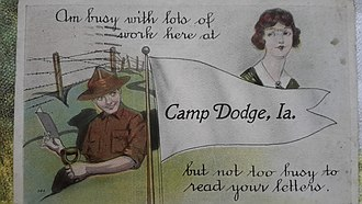 Camp Dodge - A post card sent by an American enlisted man from Camp Dodge, IA around 1918