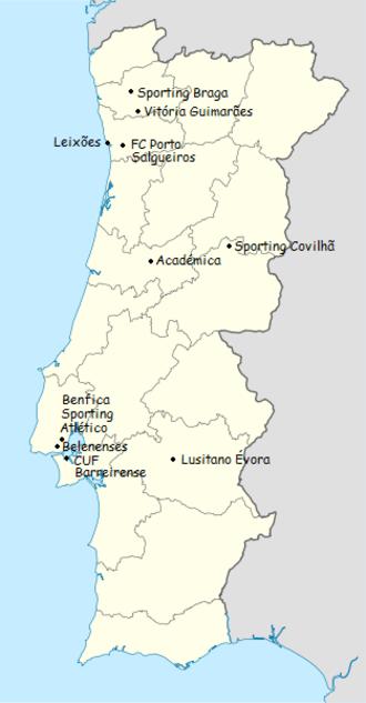 1960–61 Primeira Divisão - Location of teams in 1960–61 Primeira Liga