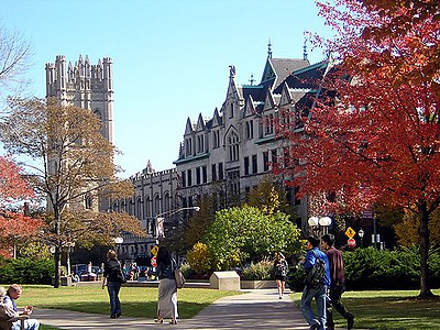 The University of Chicago, the school with which Strauss is most closely associated Campus Spring.jpg