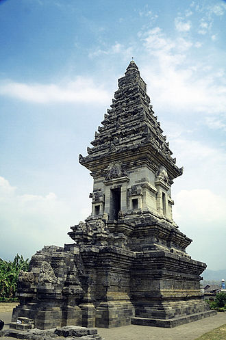 Prigen - Syncretic Hindu-Buddhist Candi Jawi temple (candi) in Prigen district. The base is made of black stones, while the upper parts are made from white stones