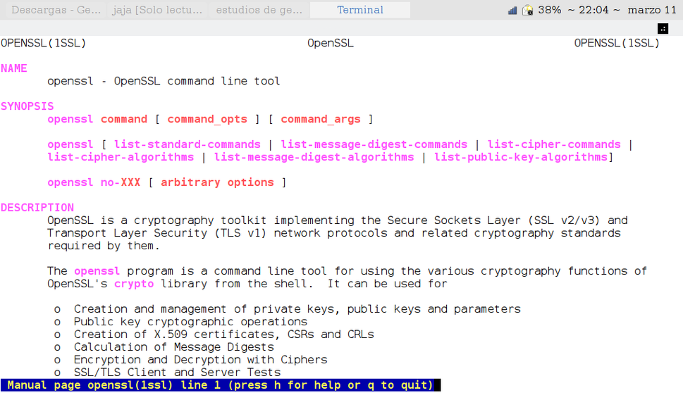 Captura de pagina de manual de OpenSSL