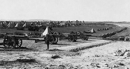 The camp of the 94th Heavy Battery on Mt Scopus after they helped capture Jerusalem Capture of Jerusalem 1917d.jpg