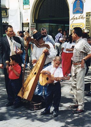 Joropo - Street musicians in Caracas play Joropo on the arpa llanera