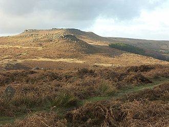 Carl Wark - Hathersage Moor from the south showing Carl Wark overlooked by Higger Tor