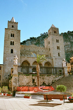 Cathedral at Cefalù, note the combined Arab and Norman influences.