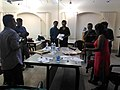 Celebration of fifty thousands images upload completion by wikipedian Biswarup Ganguli during West Bengal Wikimedians Strategy Meetup in KolkataP 20170806 125753 12.jpg
