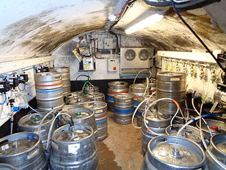 Basement - Cellars are often used in pubs to keep beer barrels connected to the bar at ground level.