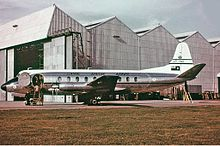 A Vickers Viscount aircraft on a runway, photographed from the port side
