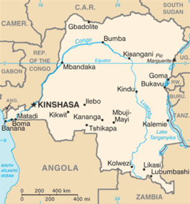 The map of Democratic Republic of Congo from the CIA World Factbook