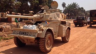 Central African Republic conflict under the Djotodia administration - Eland armoured car of the Chadian Army in Bangui, December 2013.