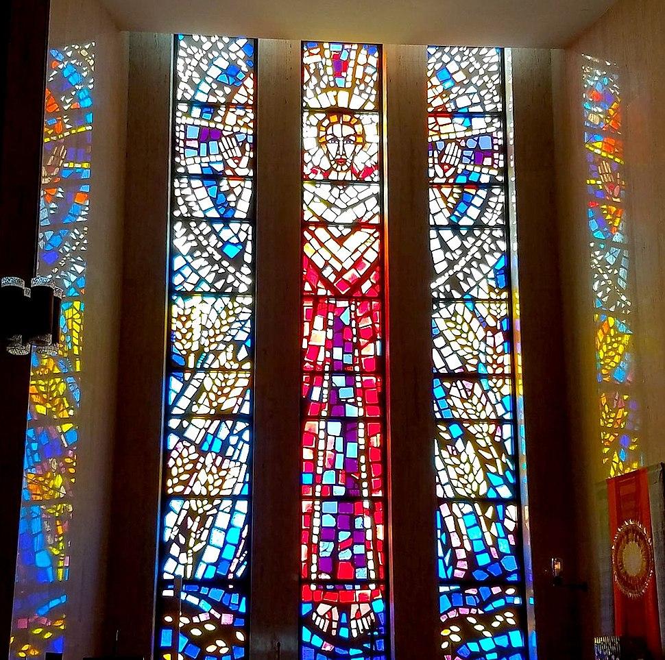 Chapel stained glass, All Saints Cemetery Community Mausoleum, Des Plaines, Illinois, USA